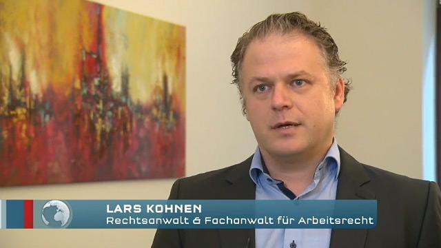 Fachanwalt Lars Kohnen beim RTL Aktuell Interview
