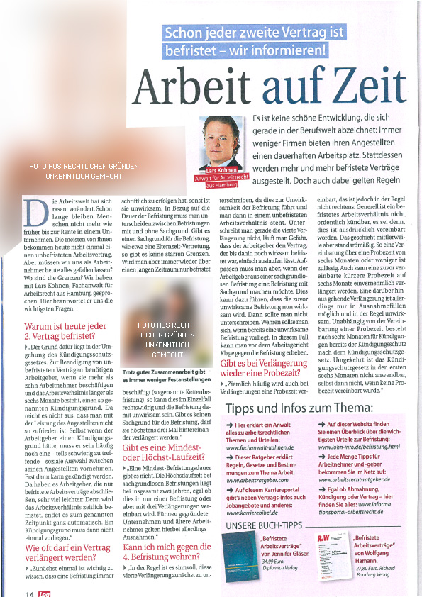 """Interview """"Arbeit auf Zeit"""" in der Lea mit Fachanwalt Lars Kohnen"""