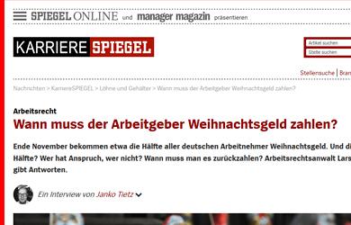 Weihnachtsgeld vom Arbeitgeber - Interview auf Spiegel Online